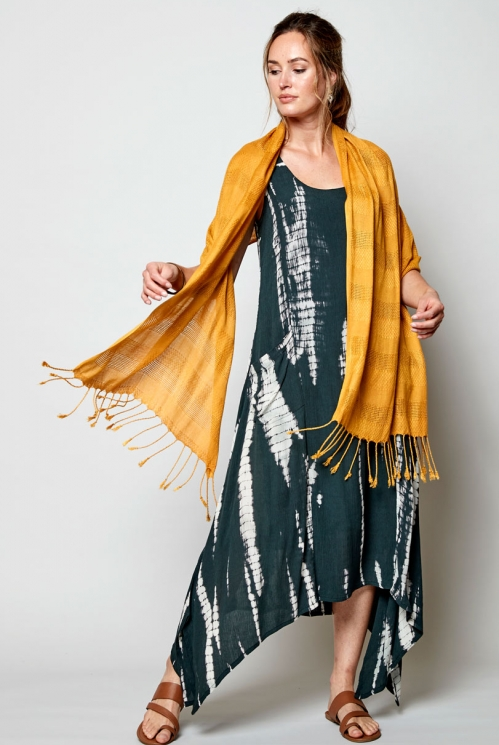 Charcoal Sustainable Tie-Dye Point Side Dress