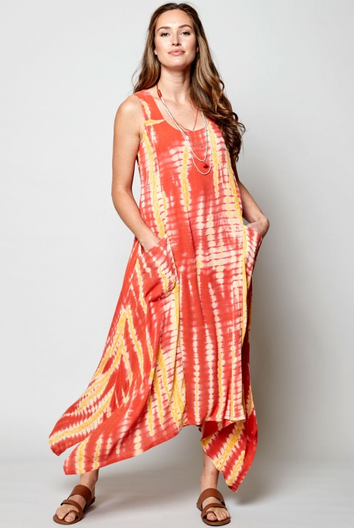 Sunset Sustainable Tie-Dye Point Side Dress