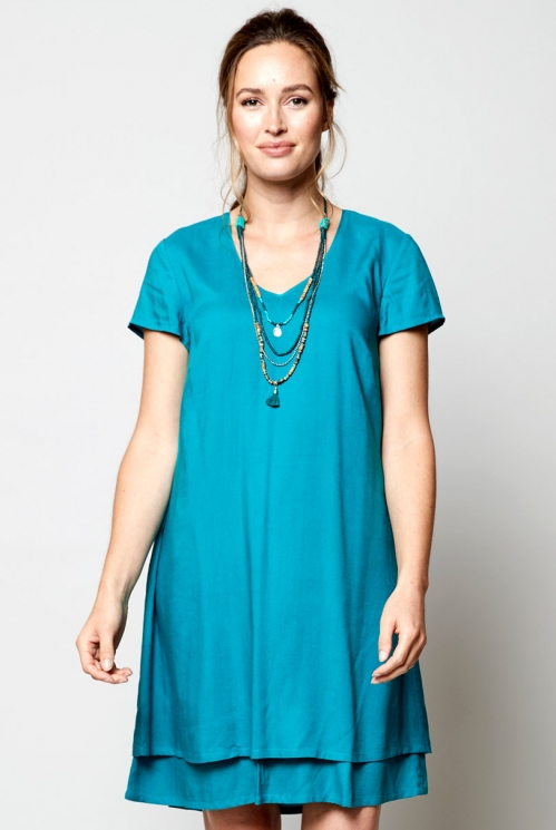 Ethically Made Lagoon Plain Double Layer Tunic Dress