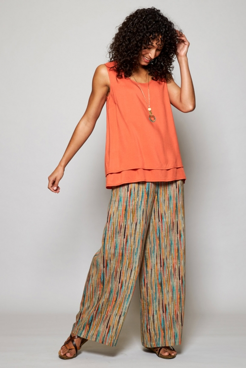 Papaya Orange Ethically Made Double Layer Vest Top