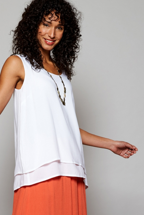 Ethically Made White Double Layer Vest Top
