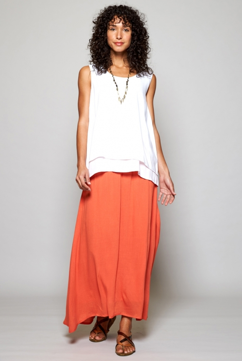 White Sustainable Double Layer Vest Top