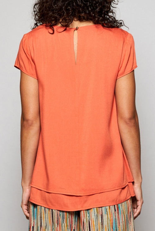 Papaya Orange Fair Trade Cap Sleeve Double Layer Top