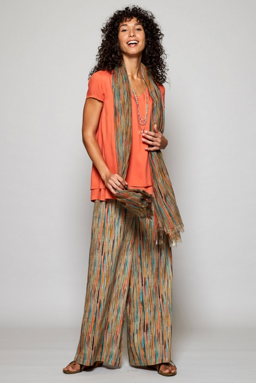 Papaya Orange Ethically Made Cap Sleeve Double Layer Top
