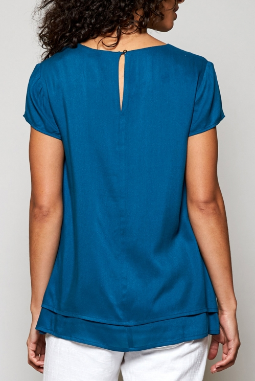 Fair Trade Teal Blue Cap Sleeve Double Layer Top
