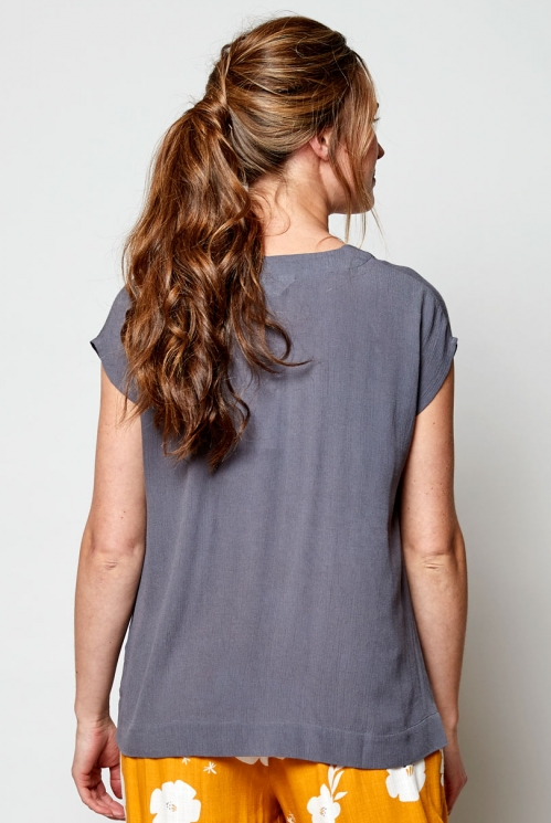 Fair Trade Aniseed Plain Crinkle Viscose Top