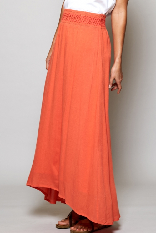 Papaya Orange Ethically Made Smocked Waist Maxi Skirt