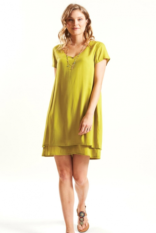 Layered Tunic Dress in Woven Viscose xtra view of Avocado