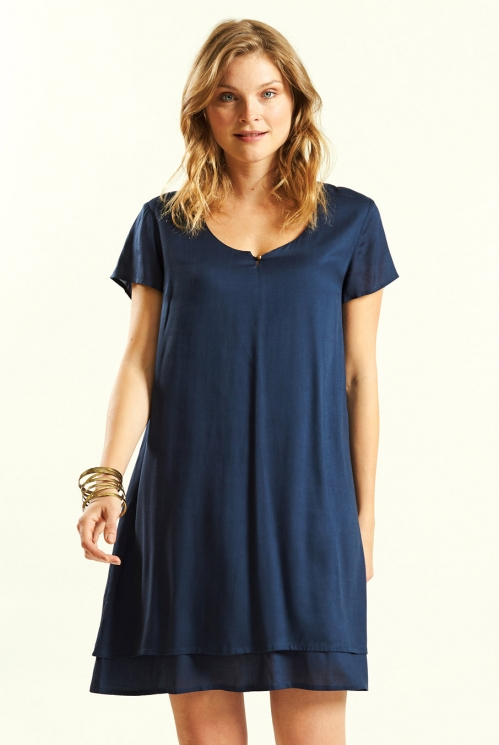 Navy Layered Tunic Dress
