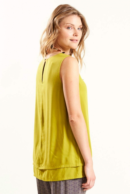 Double Layered Sleeveless Top in Avocado - back view
