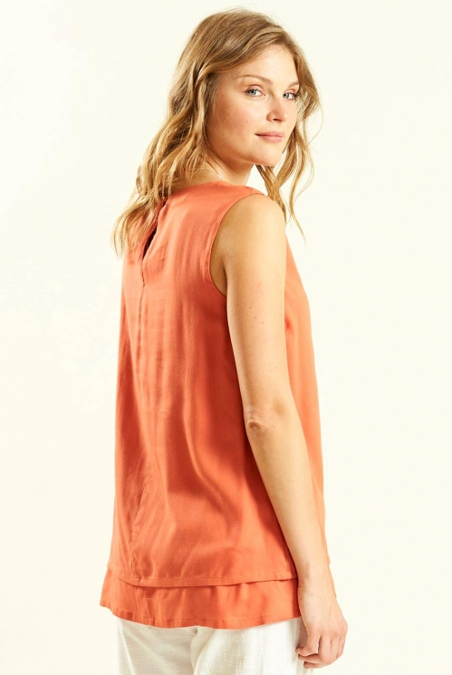 Double Layered Sleeveless Top in Marigold - back view