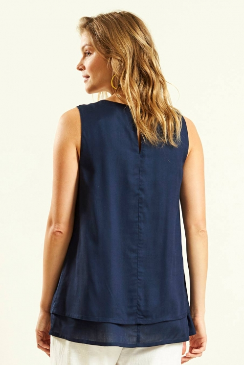 Double Layered Sleeveless Top in Navy - back view