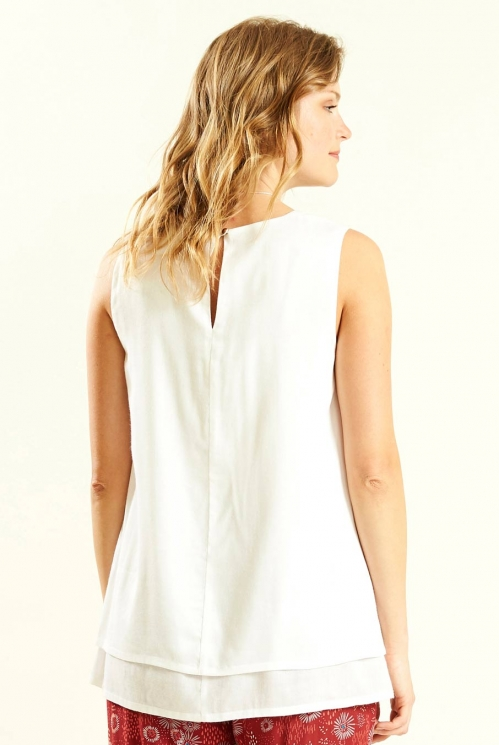 White Double Layered Sleeveless Top (back)