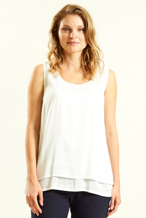 White Double Layered Sleeveless Top