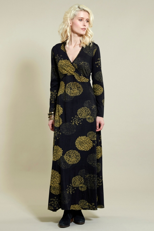 Longsleeve Maxi Dress in Organic Cotton Jersey - image shows Coal