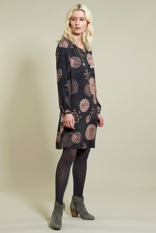 Bloom Tunic Dress in Viscose Moss Crepe xtra view of Frost Pink