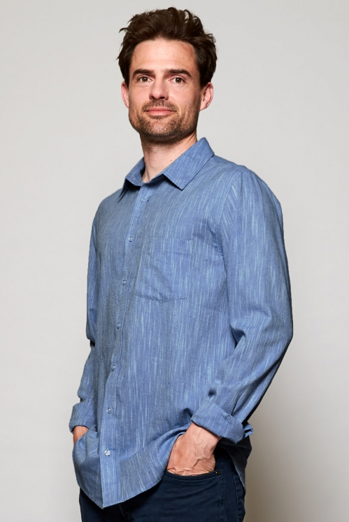 Ethically Made Sky Blue Textured Cotton Long Sleeve Shirt