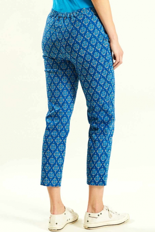Crop Trousers in Indigo - back view