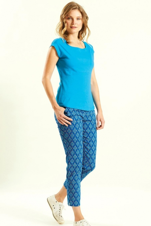 Crop Trousers in Stretch Cotton Twill xtra view of Indigo