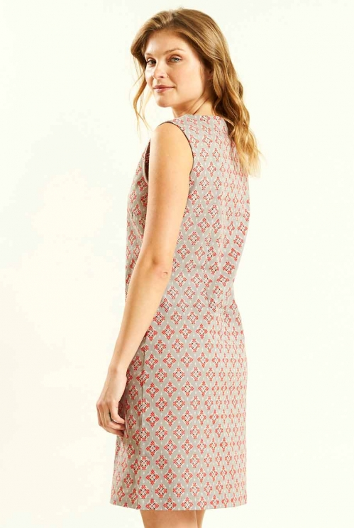 Button Fronted Tunic Dress in Pebble - back view
