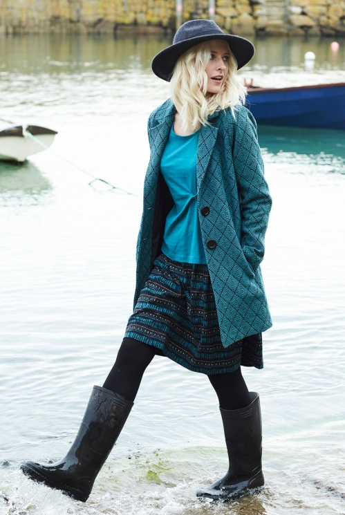 Aztec Short Coat in Handloom Cotton xtra view of Pacific Blue