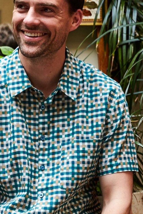 Teal Blue Sustainable Block Check Short Sleeve Cotton Shirt