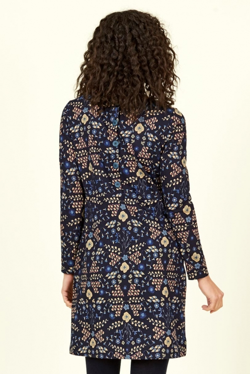 Navy Blue Bloomsbury Cotton Jersey Tunic Dress