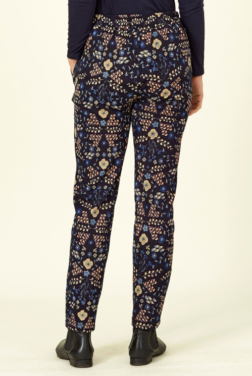 Navy Blue Bloomsbury Print Cotton Jersey Trousers