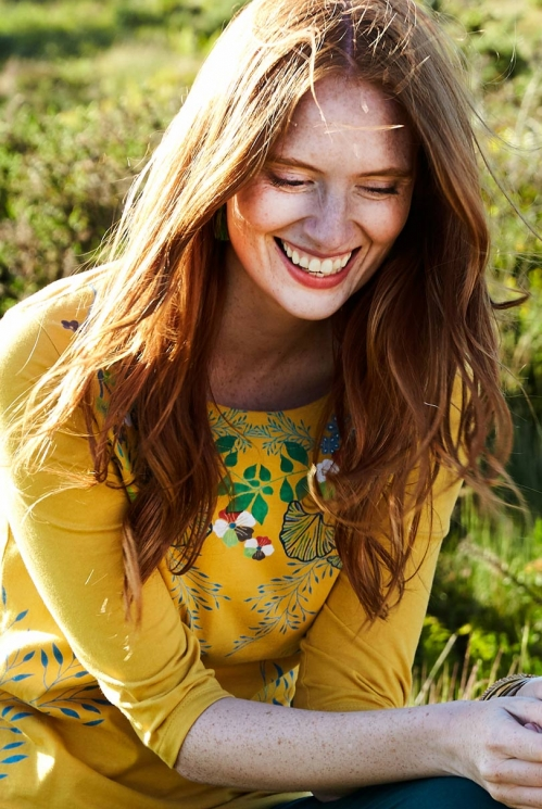 Dandelion Yellow Fair Trade Botanical Print Organic Cotton ¾ Sleeve Top