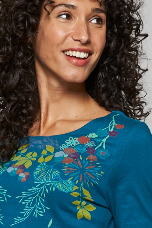 Teal Blue Sustainable Botanical Print Organic Cotton ¾ Sleeve Top