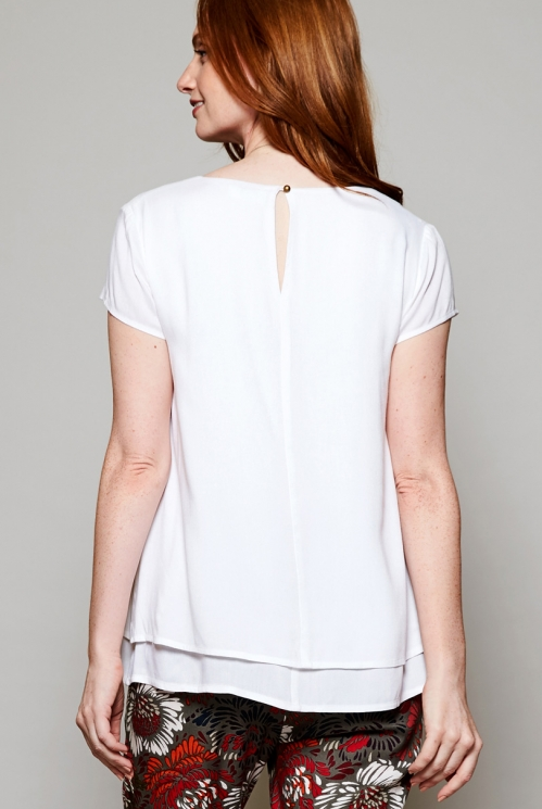 White Fair Trade Cap Sleeve Double Layer Top