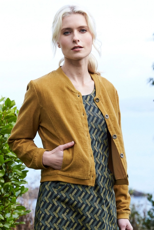 Cord Bomber Jacket in Cotton Needlecord xtra view of Caramel