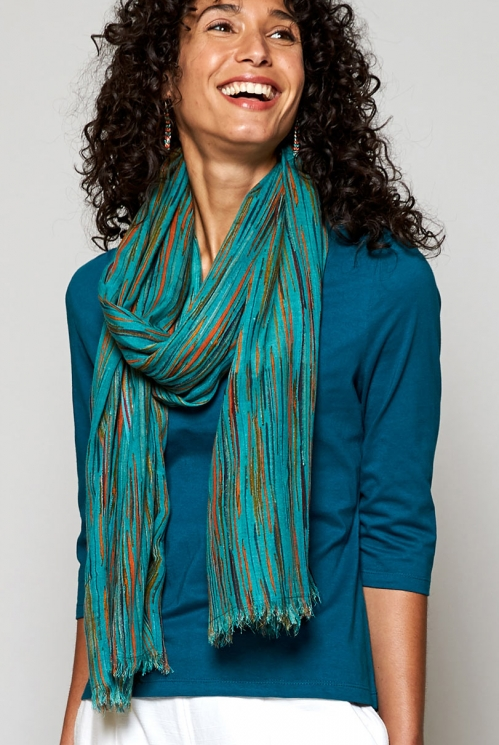 Sea Blue Fair Trade Chroma Viscose Scarf