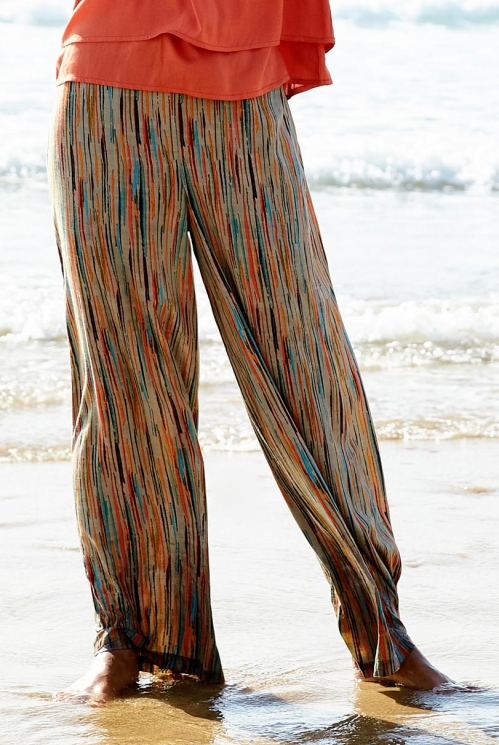 Ethically Made Chalk Stripe Wide Leg Trousers