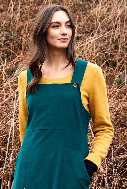 Sustainable Peacock Needlecord Dungarees Dress