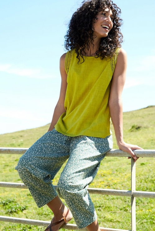 Pine Green Fair Trade Cobble Relaxed Fit Crop Trousers