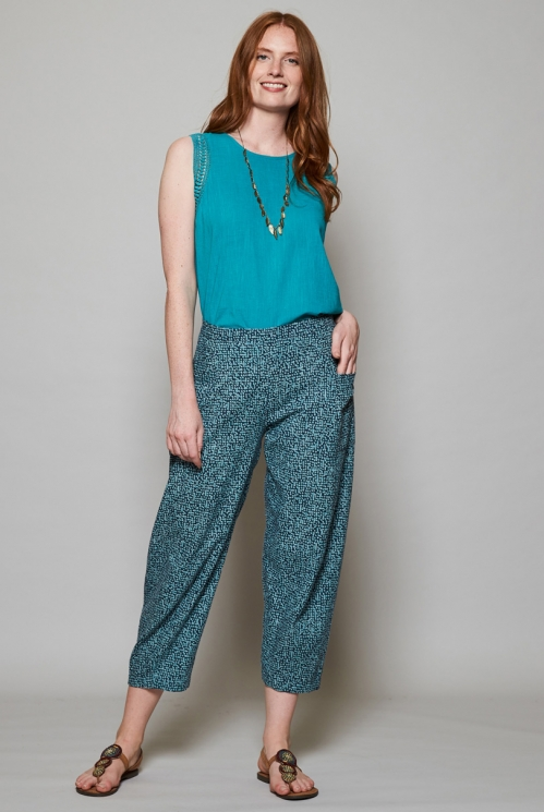 Storm Blue Sustainable Cobble Relaxed Fit Crop Trousers
