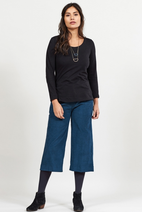 Midnight Cord Wide Leg Cropped Trousers
