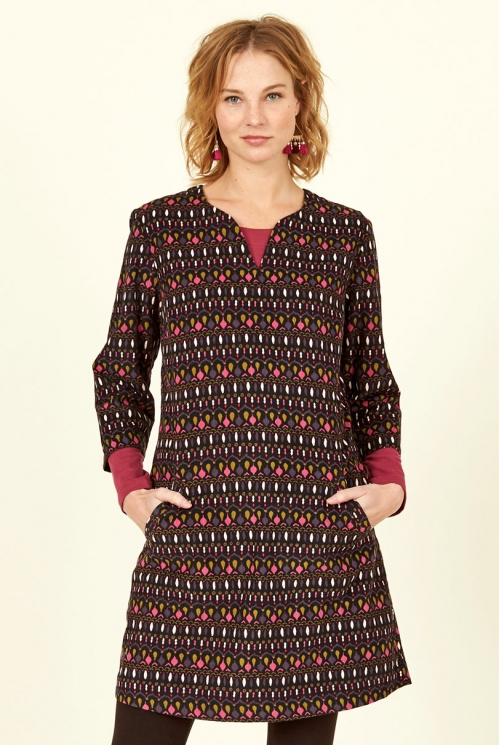 Chocolate Cotton Cord Tunic Dress