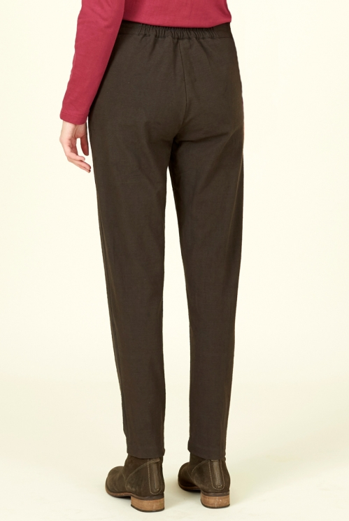 Chocolate Cotton Slim Leg Trousers