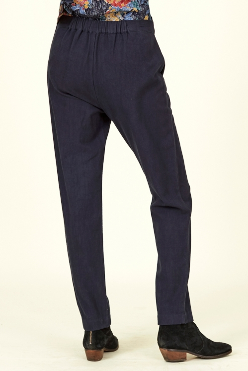 Navy Blue Cotton Slim Leg Trousers