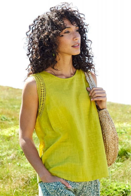 Citrus Green Ethically Made Crochet Cotton Vest