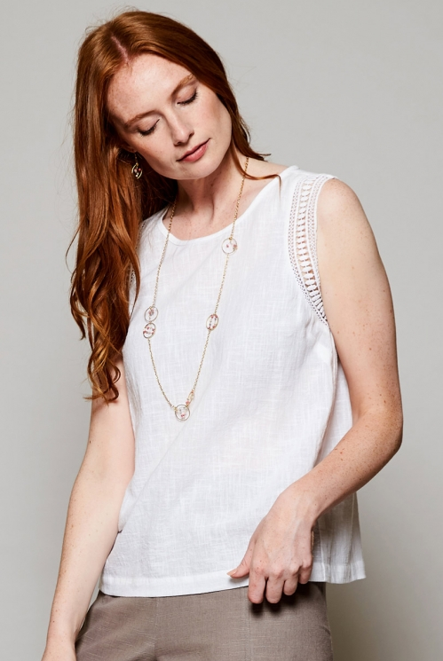 White Sustainable Crochet Cotton Vest