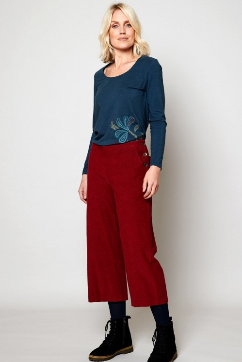 Fig Cropped Needlecord Trouser