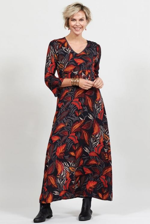 Graphite Dancing Leaves 3/4 Sleeved Maxi Dress