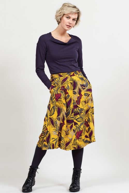 Dahl Dancing Leaves Midi Skirt