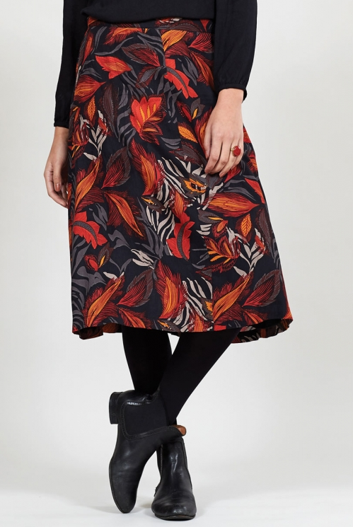 Graphite Dancing Leaves Midi Skirt