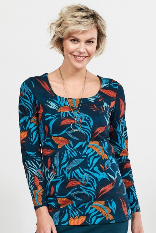 Myrtle Dancing Leaves Organic Cotton Long Sleeved Top