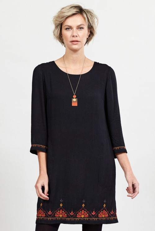 Graphite Embroidered Tunic Dress