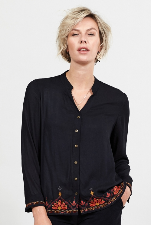 Graphite Embroidery Detail Blouse